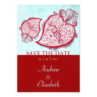 """Filigree Red Heart invitation 5"""" X 7"""" Invitation Card"""