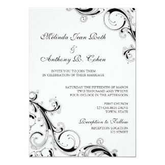 Filigree Swirl Black w/White 5x7 Wedding Card