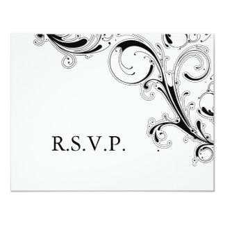 Filigree Swirl Black/White RSVP Card