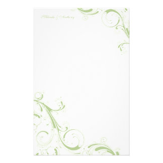 Filigree Swirl Green Personalized Stationery