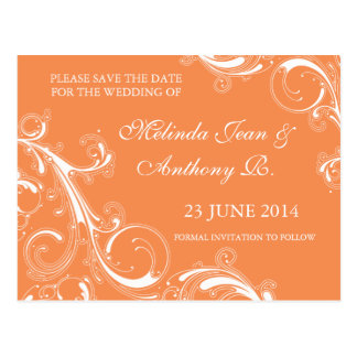 Filigree Swirl Orange Save the Date Postcard