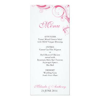 Filigree Swirl Pink Menu Card