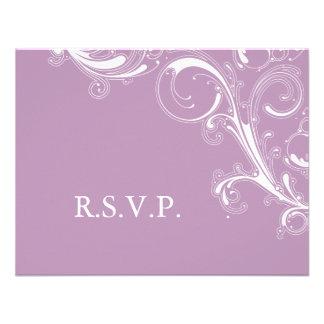 Filigree Swirl Violet RSVP Custom Invites