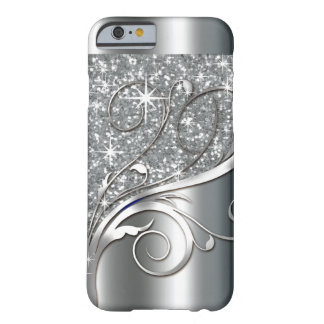 Filigree Vines Glitter Metal | silver metallic Barely There iPhone 6 Case