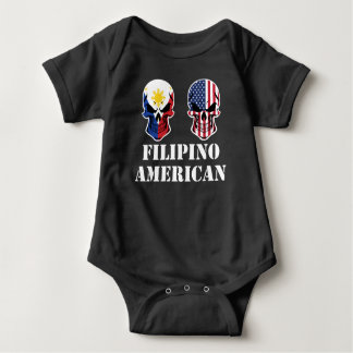 Filipino American Flag Skulls Baby Bodysuit
