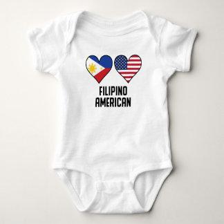 Filipino American Heart Flags Baby Bodysuit