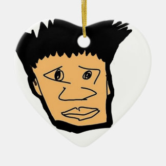 filipino boy  cartoon face collection ceramic ornament