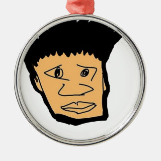 filipino boy  cartoon face collection Silver-Colored round decoration