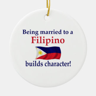 Filipino Builds Character Ceramic Ornament