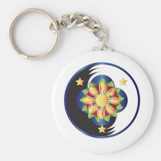 Filipino Lotus Flower Mandala Basic Round Button Key Ring