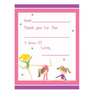 Fill in the blank gymnastics thank you postcard