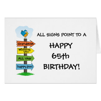 Fill-In The Signs Fun 65th Birthday Card