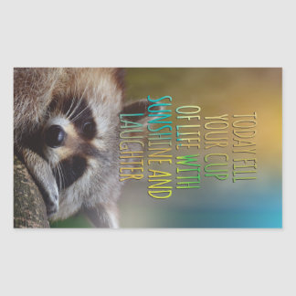 Fill Your Cup Of Life Raccoon Motivational Quote Rectangular Sticker