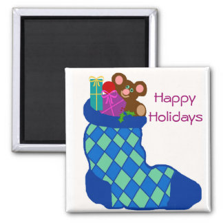 Filled stocking, Happy, Holidays magnet