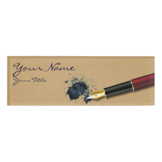 Filler Fountain Pen with Ink Blot - Name Tag