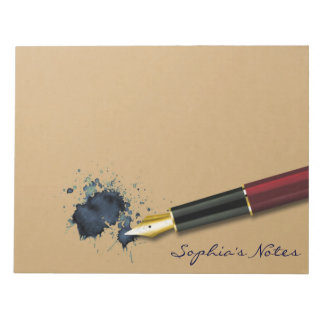 Filler Fountain Pen with Ink Blot - Notepad