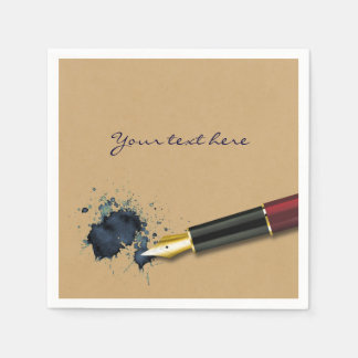 Filler Fountain Pen with Ink Blot - Paper Napkin