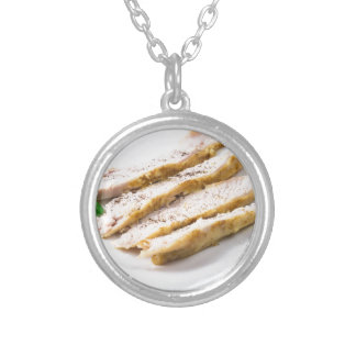 Fillets cut into pieces of baked chicken silver plated necklace