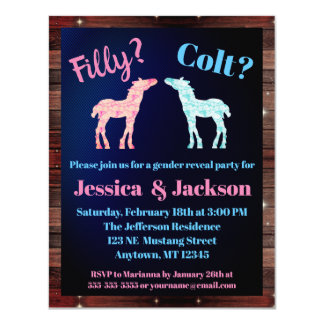 Filly Or Colt Western Style Gender Reveal Card