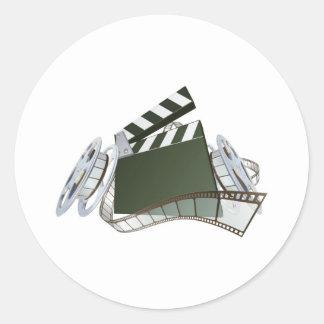 Film clapperboard and movie film reels classic round sticker