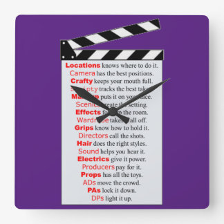Film Crew Square Wall Clock