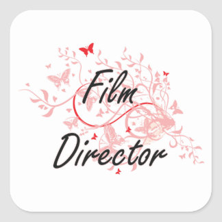 Film Director Artistic Job Design with Butterflies Square Sticker