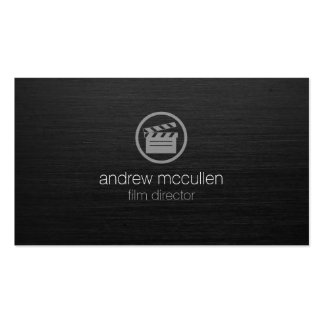 Film Director Clapperboard Icon Dark Brushed Metal Double-Sided Standard Business Cards (Pack Of 100)