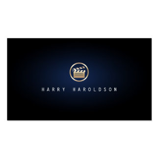 Film Director Gold Glapperboard Icon Blue Glow Business Card Templates