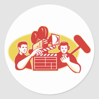 Film Director Movie Camera Clapper Soundman Classic Round Sticker