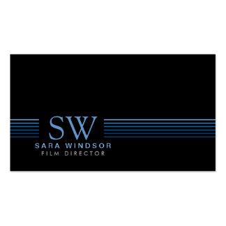 Film Director Striped Monogram Business Card