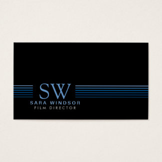 Film Director Striped Monogram Business Card