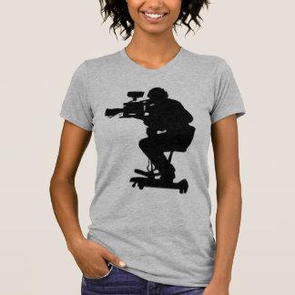Film Makers Silhouette gray v neck womens tshirt