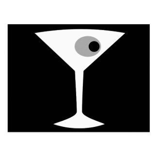 Film Noir Martini Glass Postcard