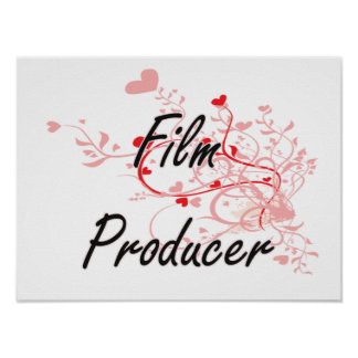 Film Producer Artistic Job Design with Hearts Poster