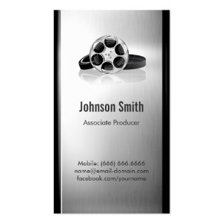 Film Producer - Brushed Stainless Steel Metal Double-Sided Standard Business Cards (Pack Of 100)