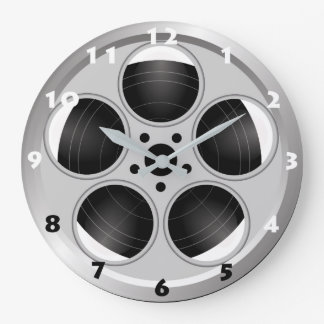 FILM REEL (BLACK AND WHITE NUMERALS) Wall Clock
