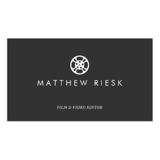 Film Reel Logo, Film and Video Editor Black Business Card Templates