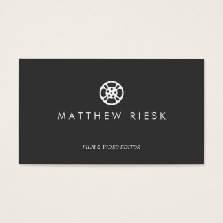 Film Reel Logo, Film and Video Editor Black Business Card