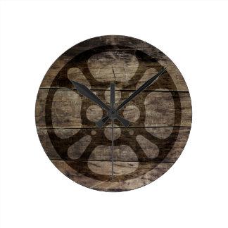Film Reel / Movie Reel Faux Wood Clock
