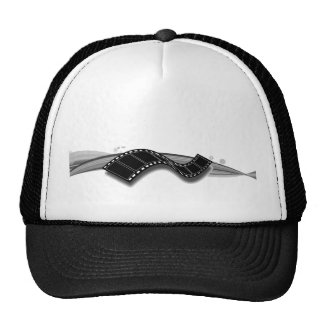 Film Strip on Black and White Ribbon Cap
