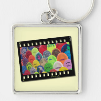 Film Strip Silver-Colored Square Key Ring