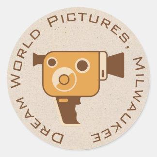 Filmmaker Movie Camera Personalized Classic Round Sticker