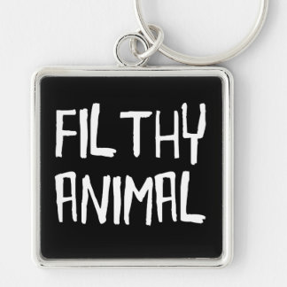 Filthy Animal White Silver-Colored Square Key Ring