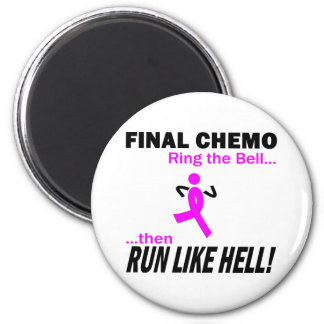 Final Chemo Run Like Hell - Breast Cancer 6 Cm Round Magnet