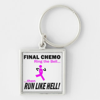 Final Chemo Run Like Hell - Breast Cancer Key Ring