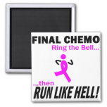 Final Chemo Run Like Hell - Breast Cancer Square Magnet
