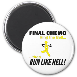 Final Chemo Run Like Hell - Testicular Cancer 6 Cm Round Magnet