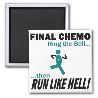 Final Chemo Run Like Hell - Uterine Cancer Square Magnet