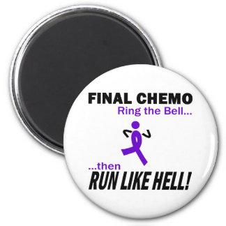 Final Chemo Run Like Hell - Violet Ribbon 6 Cm Round Magnet