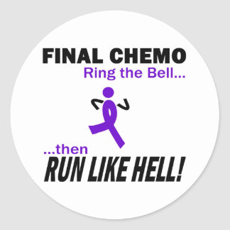 Final Chemo Run Like Hell - Violet Ribbon Round Sticker